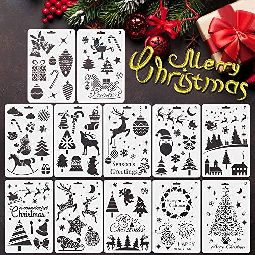 EMAGEREN 12pcs Plantillas de Navidad, Estarcidos para Navidad, Plantillas de Navidad para Manualidades, Plantillas...