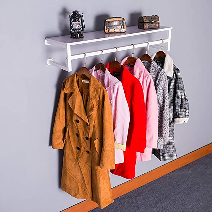 25mm GARMENT CLOTHES RAIL WALL MOUNTED HANGING RAIL DISPLAY 4ft 5ft 6ft TUBING-S