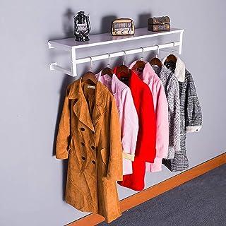 FKKURACK Tablette Flottante Blanche avec Tringle à vêtements, Support d'affichage Mural for vêtements, Porte-vêtements, Po...