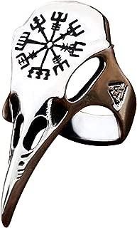 BAVAHA 316L Stainless Steel Ring Nordic Viking Amulet Raven Head and Bird Pagan Odin Rune Scandinavian Vintage Norse Viking Valknut Warrior's Ring Odin Ring