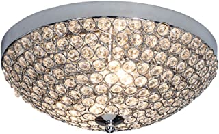 FERWVEW Hight Quality Mini Style Bowl Shaped Flush Mount Ceiling Fixture Chrome Finish Crystal Ceiling Light Luxury Crystal Light,13.7 Inches Chandelier for Living Room Bedroom Dinning Room