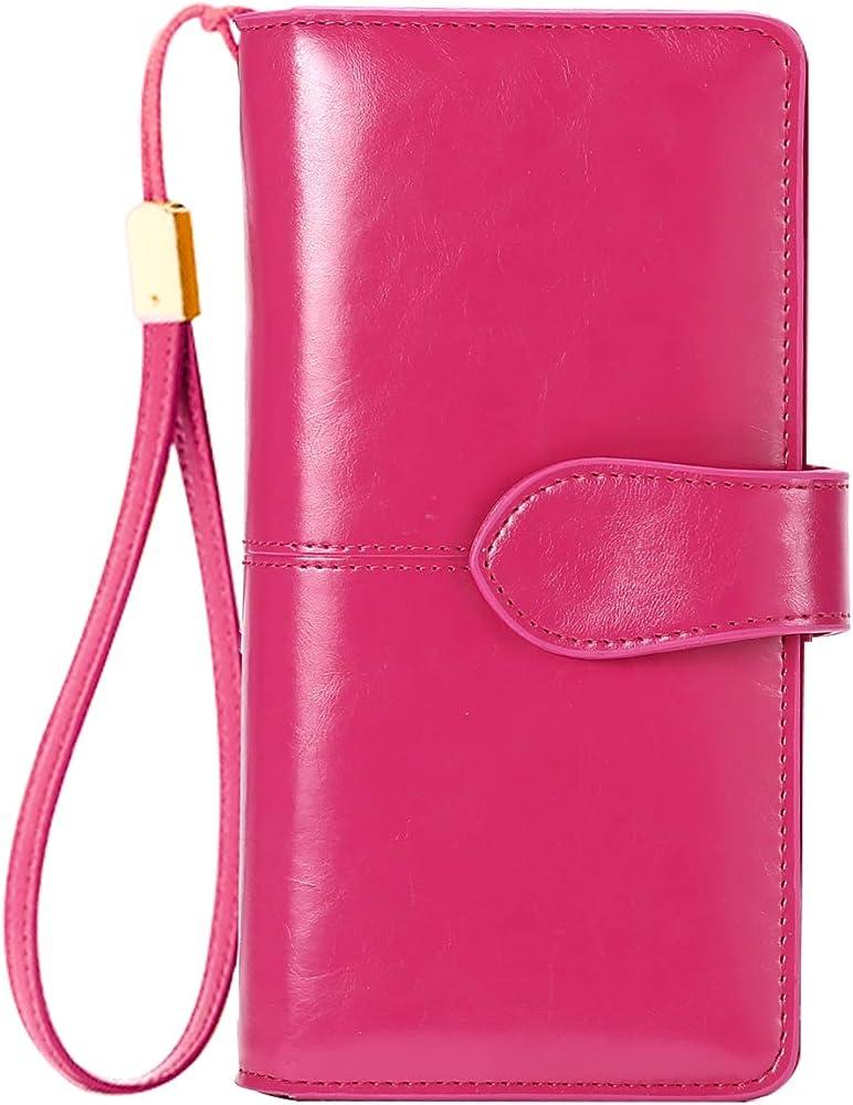 Btneeu, portafoglio in pelle per donna, porta carte di credito, protezione rfid, rosso2