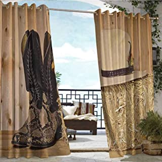Andrea Sam Patio Curtains Western Decor,Snake Skin Cowboy Boots Timber Planks in Barn with Hay Old West Austin Texas,Cream Brown,W84 xL84 Thermal Insulated Water Repellent Drape for Balcony