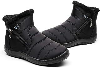 Botas de Nieve Zapatos Mujer,Popoti Botas de Nieve Cremallera Calientes Botines Forradas Cortas Ankle Boots Algodón Zapato...