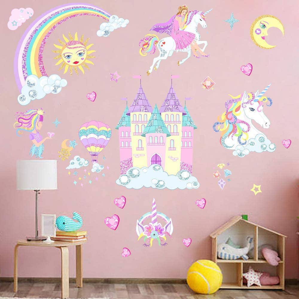 Castle Unicorn Wall Decals Princess Reflective with Heart Rainbow Vinyl Wall Stickers Gifts for Baby Girls Bedroom Party Decoration (3PCS)
