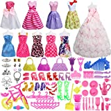SOTOGO 85 Pieces Doll Clothes and Accessories for Barbie Dolls Include 10 Pieces Handmade Doll Grown Outfits...