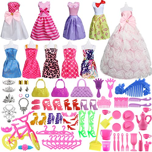 SOTOGO 85 Pieces Doll Clothes and Accessories for 11.5 Inch Girl Doll Include 10 Pieces Handmade Doll Grown Outfits Party Dresses, 75 Pieces Different Doll Accessories and Storage Bag