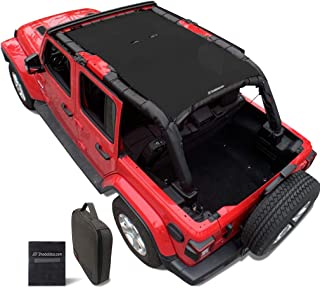 Shadeidea Jeep Wrangler Sun Shade JL Unlimited 4 Door Front and Rear-Black Mesh Screen Sunshade JLU Top Cover UV Blocker with Grab Bag-One time Install 10 years Warranty
