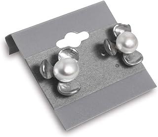 حامل بطاقات من موكا، 3.81 سم × 3.81 سم، لون رمادي، بطاقات عرض الأقراط لأزرار الأذن، حامل بطاقات عرض بلاستيكي مخملي لعرض إك...