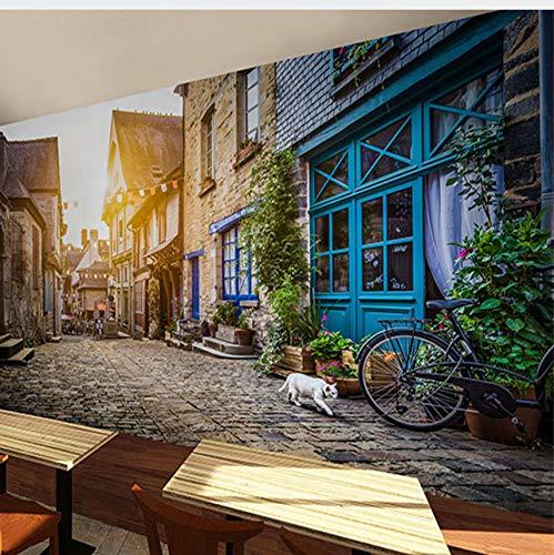 Lifme European Style Town Street Malerei Hintergrundbild 3D Tee Shop Wein Wallpaper Mural Guest Music Restaurant-280X200Cm