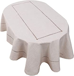 Grelucgo Handmade Double Hemstitch Natural Tablecloth, Oval 54 by 72 Inch