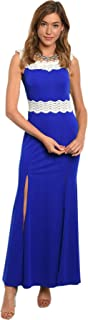 Charming Elegant Royal Blue Stretch Sleeveless Maxi Dress White Lace Front Slits