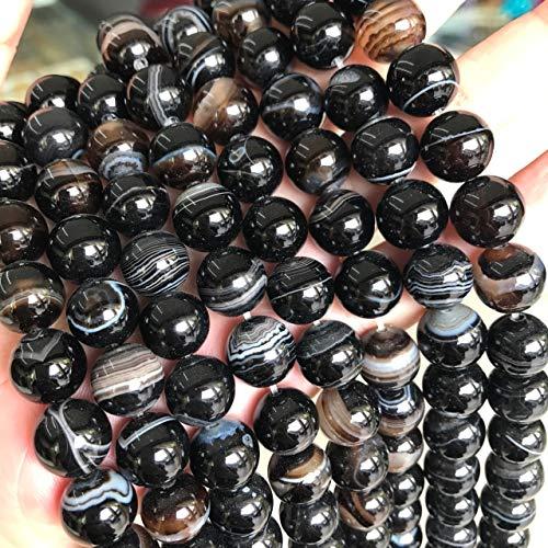 Natur Edelstein Streifen Lace Achat Perlen, 8mm 6mm 4mm, Poliert und Matt, Kugelform Schmuckperlen für Schmuck Armband Kette Schmuckherstellung, Farbauswahl (8mm 15 Stück, Schwarz Poliert)