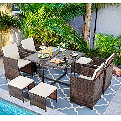 Vongrasig 9 Piece Small Patio Dining Set, Outdoor Space Saving Wicker Dining Furniture Sets, Glass Patio Dining Table with Cushioned Wicker Chairs and Ottoman Sets for Lawn, Garden, Backyard (Brown)