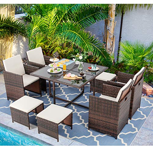 Vongrasig 9 Piece Small Patio Dining Set, Outdoor Space Saving PE Wicker Dining Furniture Set, Glass Patio Dining Table with Cushioned Wicker Chairs and Ottoman Sets for Lawn, Garden, Backyard (Brown)