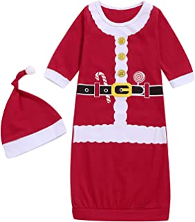 Dramiposs Newborn Baby Boy Girls Christmas Nightgowns Xmas Costume Funny Sleeper with Hat