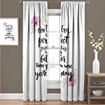 KAKKSW Black Out Window Curtain, with Beautiful Patterns, Motivational, Motivation Boosting Inspiration Enchanting Quote Be Better Than Yesterday, 96