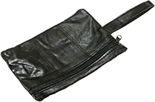 Black Leather Safety Money Belt (Folds Inside Trousers) Travel Accessory Gift