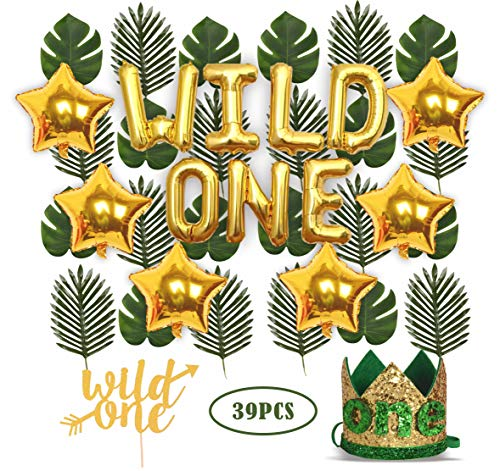 Why Choose Wild One Birthday Decorations | 1st Baby Girl/Boy Birthday Party Hat Green Crown with Gre...