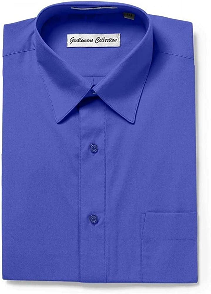 Gentlemens Collection Mens Short Sleeve Classic Fit & Slim Fit Easy Care Dress Shirt - Colors