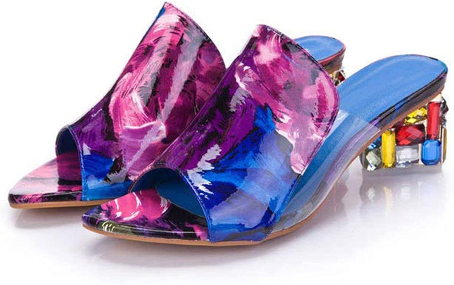 2019 Brand Large Sizes 41 Elegant Crystals Chunky Heels Summer Women's shoes Woman Sandals Leisure Slippers,Purple,9