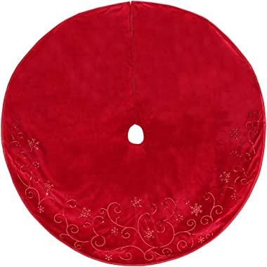 New Traditions Simplify Your Holiday Christmas Tree Skirt Holiday Decor (Red Velvet Taffeta)