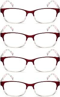 Aiweijia men and women 4 packs reading glasses spring hinges adjustable comfortable unisex durable reading glasses