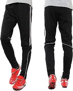 Men's Sweatpants Track Soccer Training Pants Active Jogger Pants Slim Fit Trousers Striped Zipper Pockets