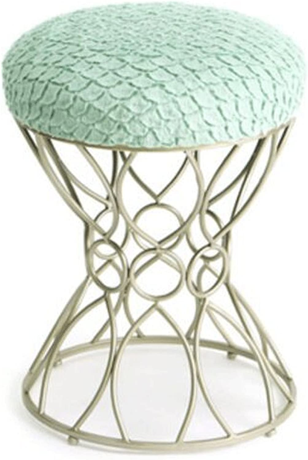 TXXM Barstools Comfortable Cotton Stool Metal Fashion Makeup Stool Dressing Stool Dining Chair Tea Table Stool H49CM (color   Green, Size   Silver)