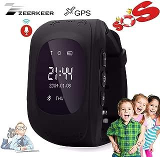 Smart Watch for Kids-ZEERKEER GPS Tracker Smart Watch Pedometer with SOS Call Anti-Lost Alarm Remote Monitor GPS/LBS Locator Smart Bracelet Best Gift for Girls Children boy (Q50) (Black)