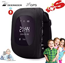Smart Watch for Kids-ZEERKEER GPS Tracker Smart Watch Pedometer with SOS Call Anti-Lost Alarm Remote Monitor GPS/LBS Locator Smart Bracelet Best Gift for Girls Children boy (Q50) (Black)