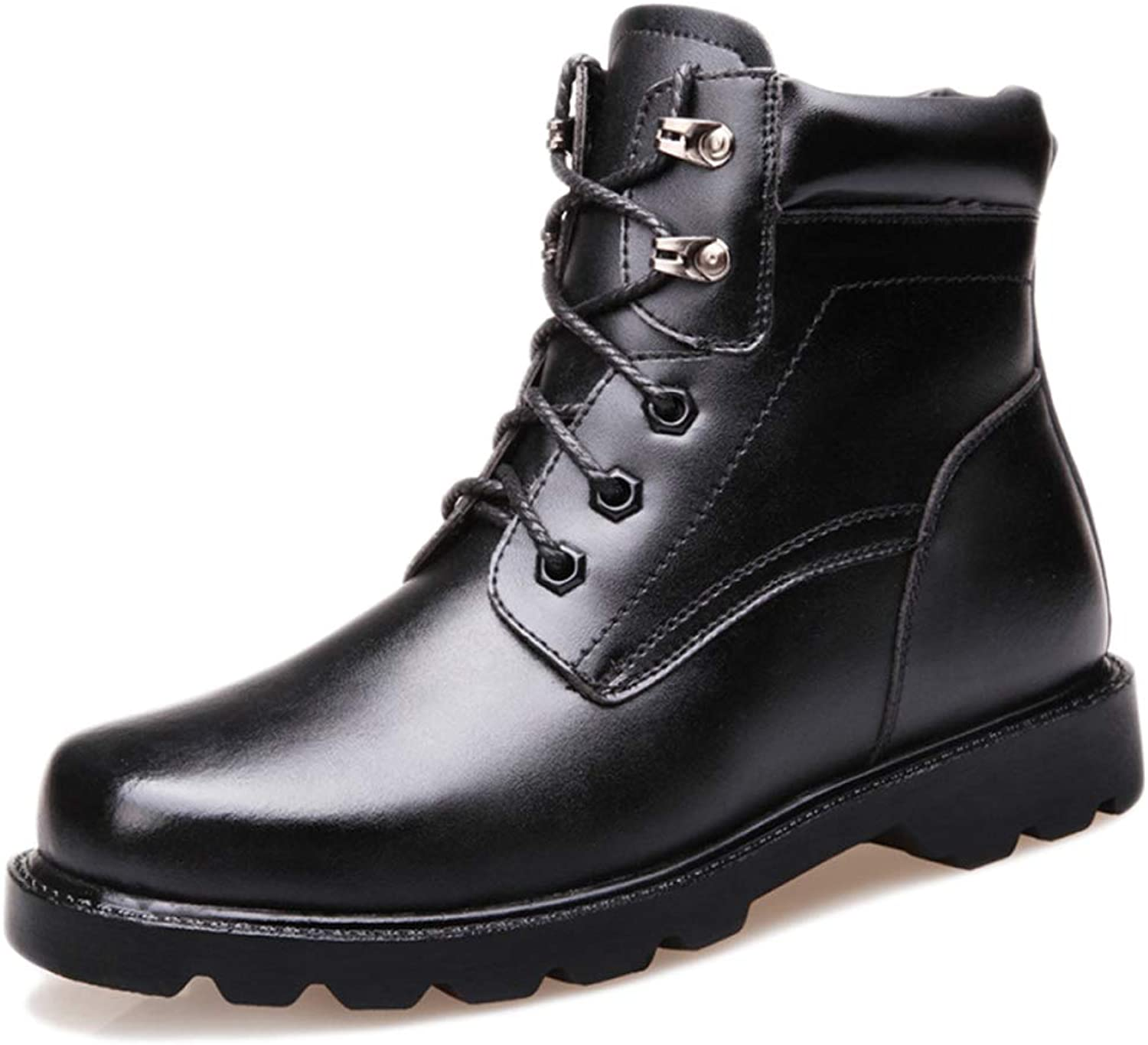 Hope Black Leather Ankle Boots High-top shoes for Men Army Military Lace Up Boots Outdoor Trekking Hikking Work Security Police Boots