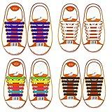 Coolnice Lacets Elastiques No Tie Lacets pour Adultes Femme Woman Imperméables Silicone pour Chaussure, Enfant-multicolore+blanc+noir+bleu Foncé, Kid, Lot de 4