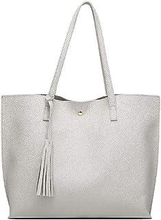 Women's Soft Leather Tote Shoulder Bag from Nathalie, Large Fashionable Tassel Handbag