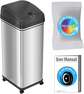 iTouchless Glide 13 Gallon Sensor Trash Can with Wheels and Odor Control System, Stainless Steel, Automatic Kitchen Bin an...