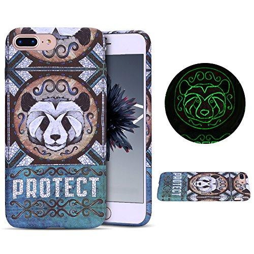 Anfire Funda iPhone 7/8 Plus Luminous Carcasa Noctilucent Suave Silicona Case Gel TPU Fluorescent Bumper Tapa Ultra Ligero Flexible Cubierta Trasero para iPhone 7/8 Plus Protector Caso - Panda