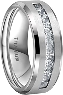 iTungsten 8mm Titanium Rings for Men Women Eternity Wedding Engagement Bands White/Blue Princess Cubic Zirconia Inlay Beve...