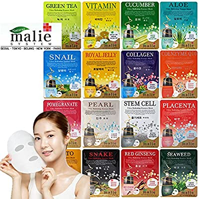 Malie Ultra Hydrating Moisture Essence Facial Mask Sheet Korean Cosmetics (16pcs Full Pack) by OBS Lab Co Ltd
