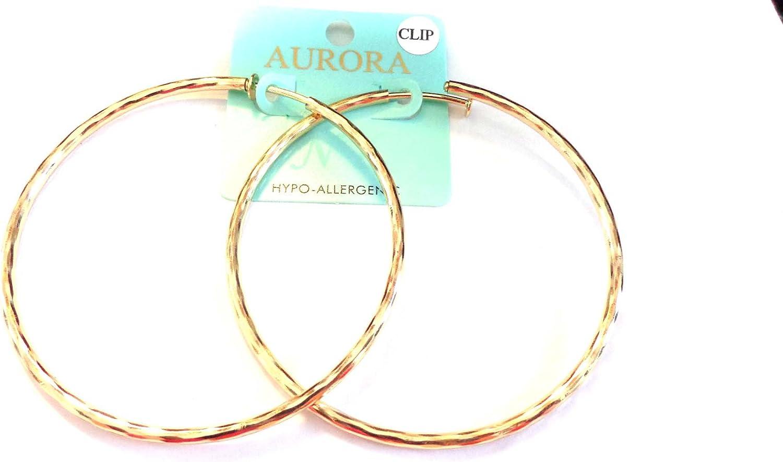 Clip on Earrings Hypoallergenic Hoop Earrings 3 Inch Gold Tone Hoop Earrings