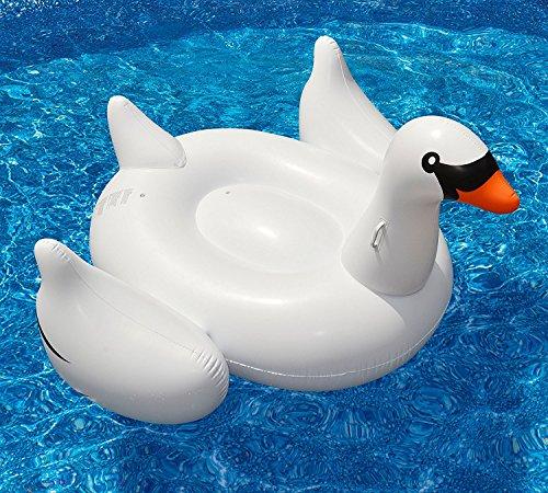 Mystery&Melody Cojín de Aire Flotante de la Cama del PVC del Flotador de la Piscina del Flotador Blanco Gigante del Cisne para el Deporte acuático de la Playa