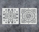 GSS Designs 2Stück Schablonen Set (30,5x 30,5cm) für Holz Wand Möbel Boden Fliesen Stoff Vorlage–wiederverwendbar Art Gemälde Schablonen