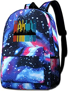 Retro 1970's Style Dallas Texas Skyline Adult Unisex Mens Womens Funny Colorfull Style Student Backpack