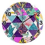 FULUHUAPIN Reloj de pared para baño, cocina, diseño de loro flamenco, para niña, no hace tictac, silencioso, fácil de leer, para decoración de dormitorio, 22.5 cm, reloj redondo 20301362