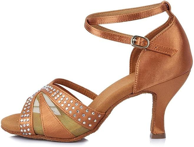 YFF Rhinestone Ballroon Professionnel Chaussures de Danse Latine Chaussures de Danse en Satin Partie Salsa pour Femmes Les Filles Mesdames Tango