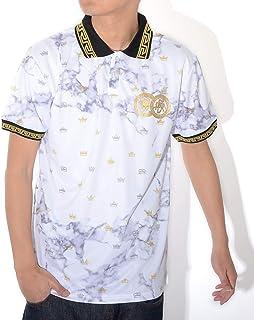 REASON リーズン ポロシャツ 半袖 総柄 マーブル モノグラムクラウン リブ雷文模様 (S1-81)