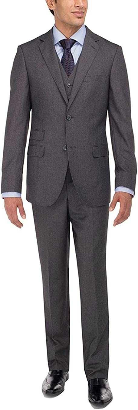 Luciano Natazzi Men's Two Button Vested Three Piece Suit Set Tweed Modern Fit