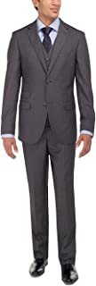 LN LUCIANO NATAZZI Men's Tweed Vested Suit Set Two Button Modern Fit Three Piece