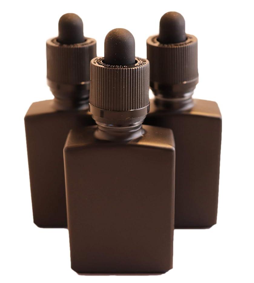 ゲージ存在する考古学者TENKU ガラス製スポイト遮光瓶【チャイルドロック付き】30ml 3本 アロマ 香水 リキッド保存用 詰替え用 マットブラック