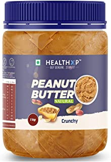 HealthXP Natural Unsweetened Peanut Butter 1Kg (Crunchy)