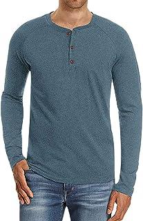 997e772c28f74 iZHH Men Shirt Classic Slim Fit O Neck Long Sleeve Muscle Casual Tops